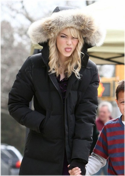 Emma Stone joking around in her Canada Goose Mystique Parka